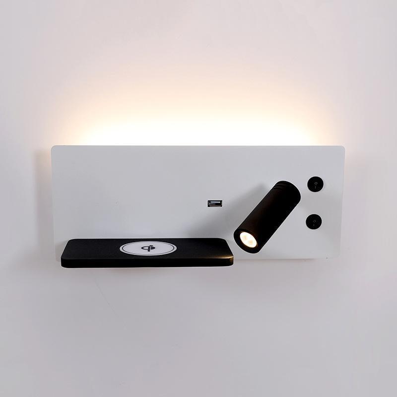 유도 성 충전 베드 옆 벽 램프 침실 연구 스위치가있는 간단한 el 스포트 라이트 조정 램프