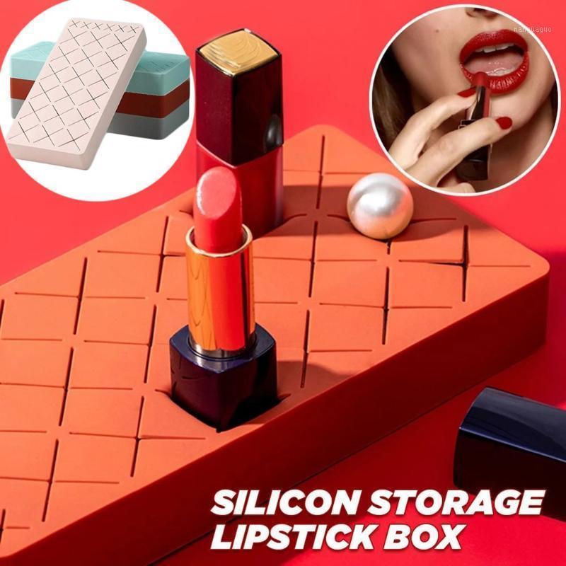 أدوات التجميل أحمر الشفاه تخزين مربع خلع الملابس الجدول سيليكون سطح المكتب عرض للنساء DEC.261