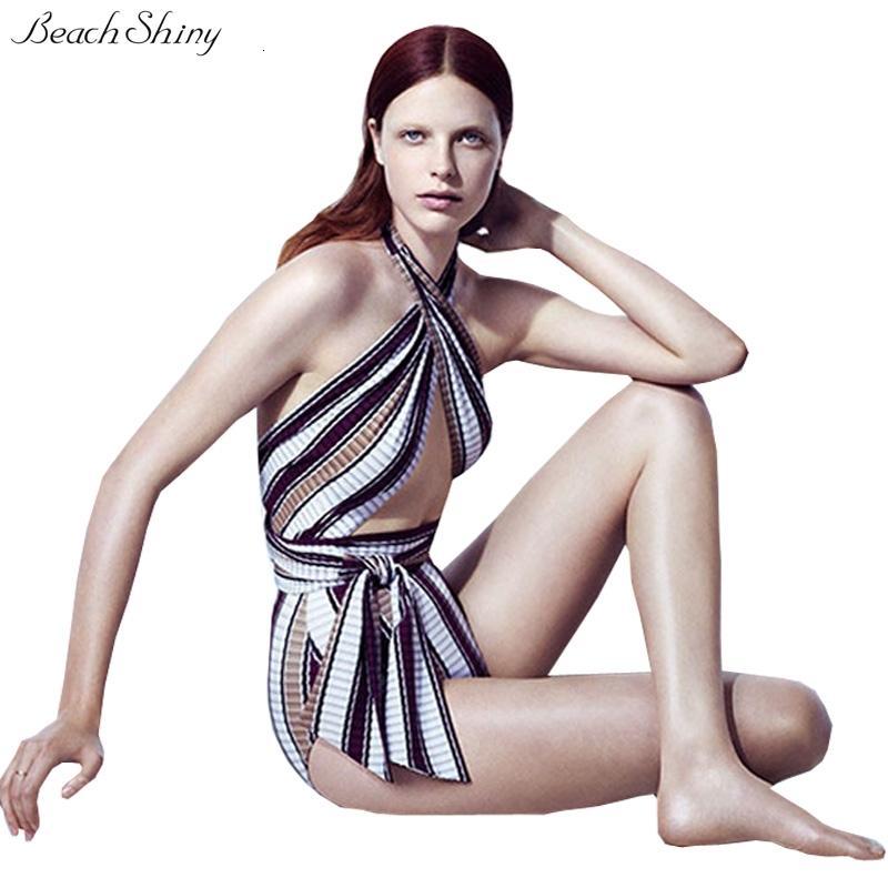3D Çizgili Tek Parça Mayo Kadın 2020 Kesip Halter Backless Monokini Mayo Papyon Yüksek Bel Tek parça Takım Elbise Plaj Giyim