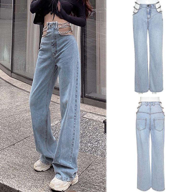 Catena laterale streetwear scava fuori jeans da donna a gamba larga pantaloni vita alta sexy elegante signore all'Europa moda