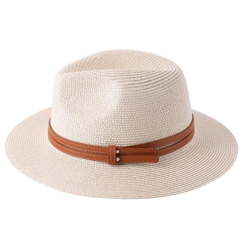 Geniş Brim Şapka Doğal Panama Yumuşak Şekilli Hasır Şapka Güneş Açık Plaj Seyahat Koruma Fedora Dekoratif Kemer