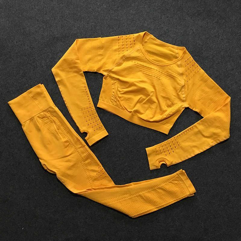 Piezas Gimnasio Ropa de entrenamiento para mujeres Flawsless Knit Manga larga Cultivo de compresión Top + Leggings sin fisuras Yoga 2 pieza