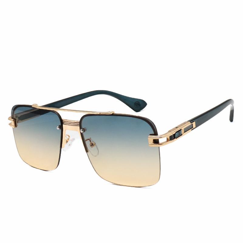 최고 품질 남성 태양 안경 럭셔리 디자이너 선글라스 남자 복고풍 패션 스타일 사각형 Frameless UV400 렌즈 금속 선글라스 상자 무료 배달 6009 안경