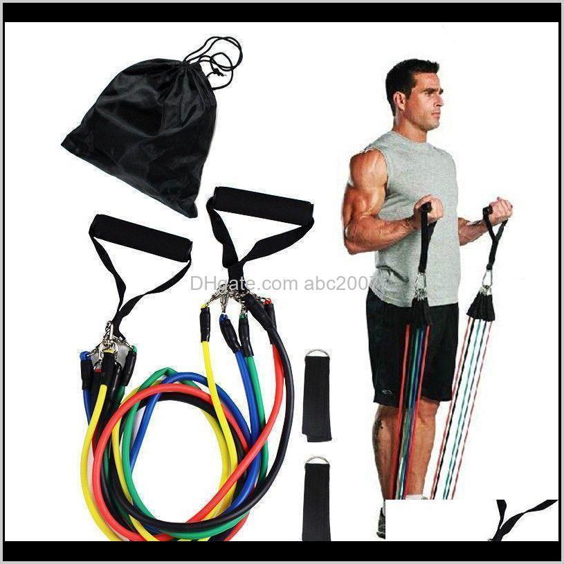 11pcsset портативный портативный подтягивающий фитнес тренировочный тренажерный зал Упражнения ремня ремня устойчивые полосы Легкие эластичные натяжения веревки H 66T7i 7ADBK