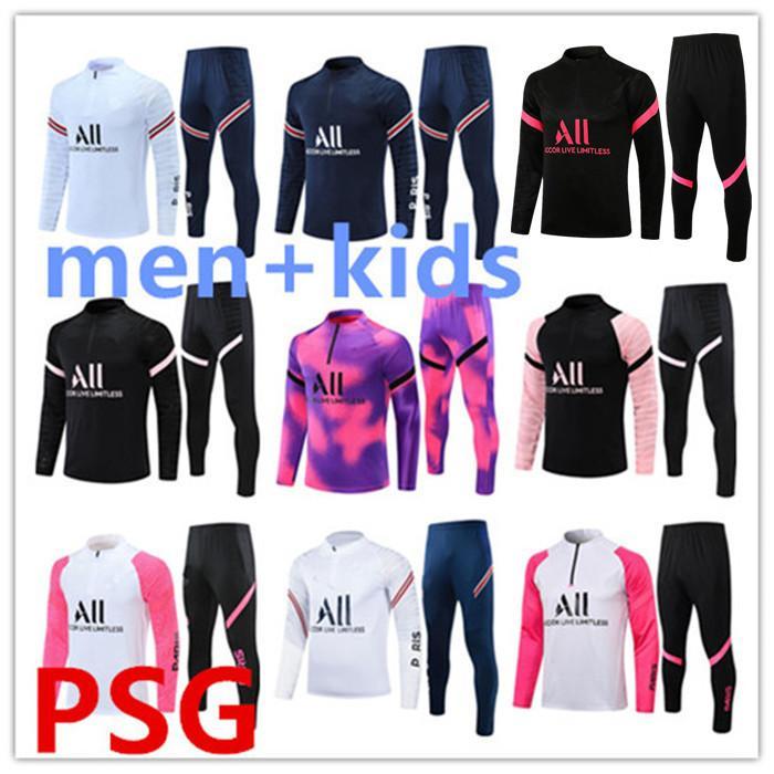 2021/2022 Paris Eşofman Eğitim Takım Elbise MBappe Çocuklar Survêtements Kazak 21/22 Yetişkin Kehaneti Set