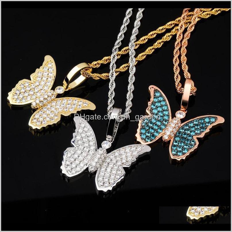 Ожерелья 18k розовое позолоченное покрытие Bling Blue Cubic Zirconia Butterfly Butterfly Cune Cell Masculina Bijoux Hip Hop Rapper украшенные подарки для Zokqe