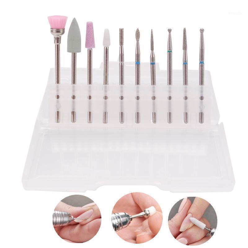 10 pz in ceramica Diamond Nail Art Drill Bit Set frese fresatura pulito Elettrico file rotanti BURR Manicure Pedicure Cuticole Strumento1