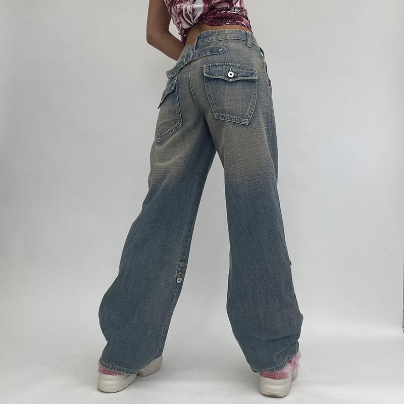 Women's Jeans Streetwear Cargo Pants Baggy Mom Woman High Waist Wide Leg Vintage Aesthetic 90s Korean Denim Trousers