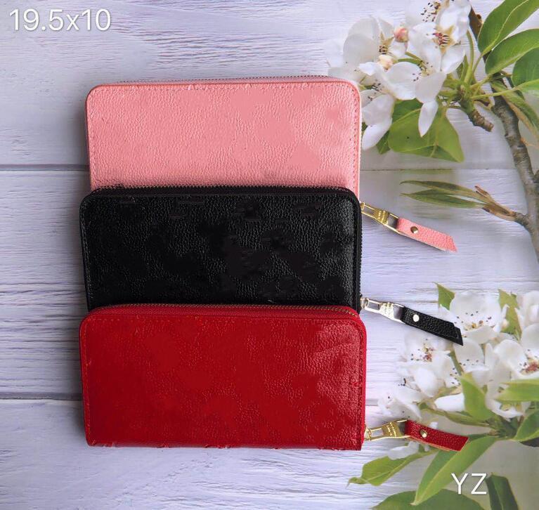 Wholesale de couro em relevo shinny longa carteira multicolor moda caixa de alta qualidade coin bolsa mulheres homem clássico zíper bolso