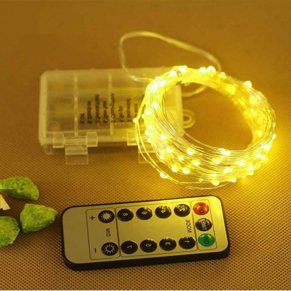 8 Modlar Uzaktan Kumanda Dize Işıkları 10 M / 33FT 100LED 20 M 200LED Zamanlayıcı Fonksiyonu Bakır Gümüş Tel Açık LED Peri Dize Işıkları Pil Kumandalı Işık