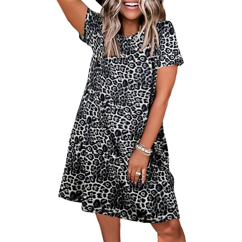 크로스 드레스 테두리 독립적 인 스테이션 유럽 및 아메리칸 여성 의류 스포트 라운드 넥 레오파드 인쇄 짧은 소매 캐주얼 느슨한 여성