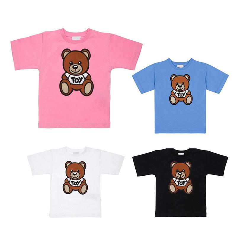 Kids T Shirts Lettre Bear Top Top Tees Girl Cute Casual garçon bébé Vêtements de bébé confortable T-shirt respirant Multicolore enfant été 4 couleurs style