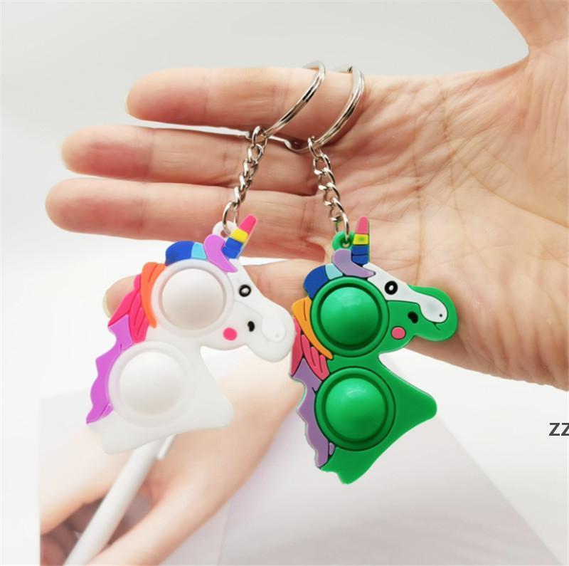 Bambini Unicorn Catena chiave Catena Fidget Giocattoli Rainbow Push bolle a doppio lato Decompressione colorato Toy Horse Doll Bag Pendente regalo HWB10571