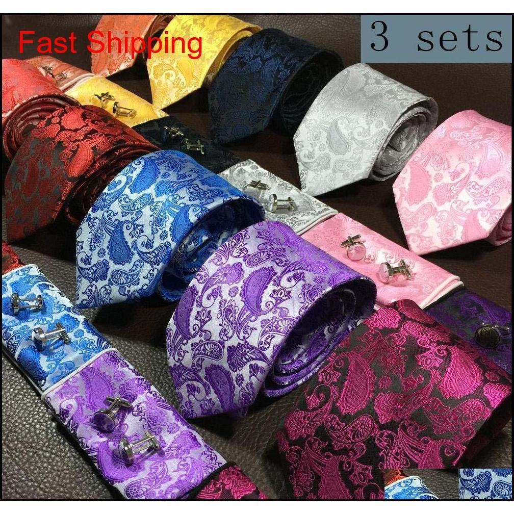 Галстук шеи набор модных мужчин и носовой платки бабочки запонки 9 см галстук 100% шелк с для бизнеса свадьба вечеринка гомберы аксессуары 5ofoz 0LTQ 0LTQ