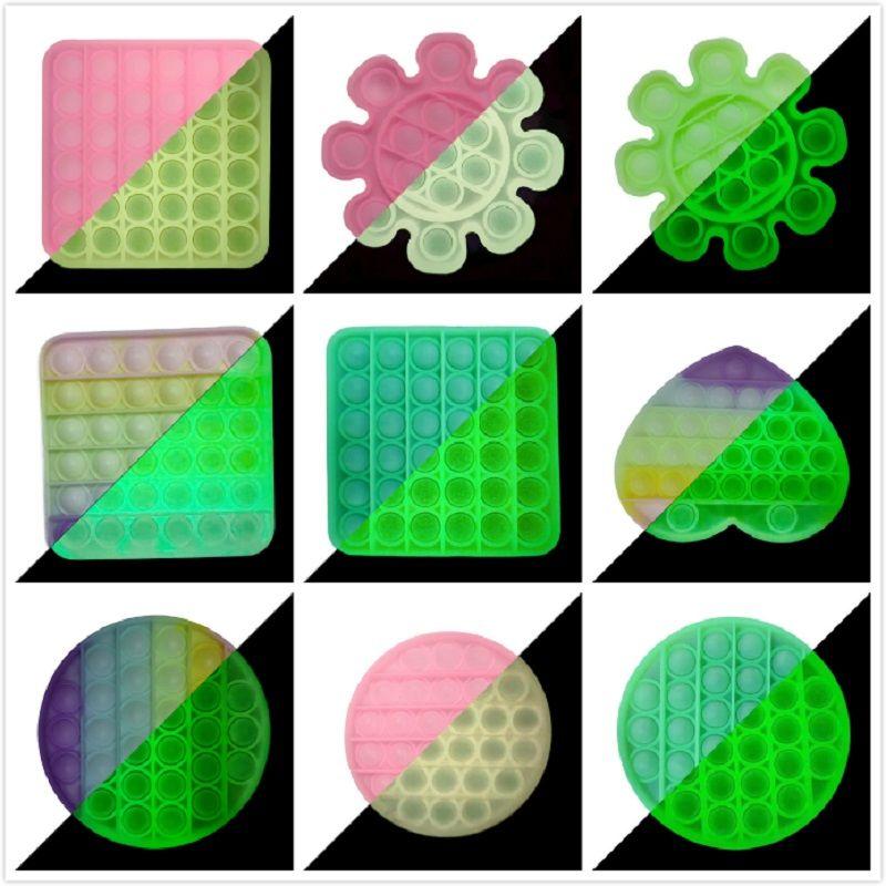 Koyu Pop BT Glow Pops Figet Oyuncaklar Itme Kabarcık Fidget Sensory Oyuncak Otizm Özel İhtiyaç Stres Rahatlatıcı Anti Stress
