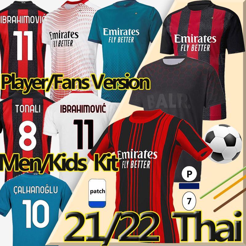 21/22 Yeni fanlar oyuncu versiyonu AC Soccer Milan Balr. Formalar 2021 Ibrahimovic Tonali Mandzukik Kessie Erkekler Kid Kitleri Futbol Eğitim Gömlek
