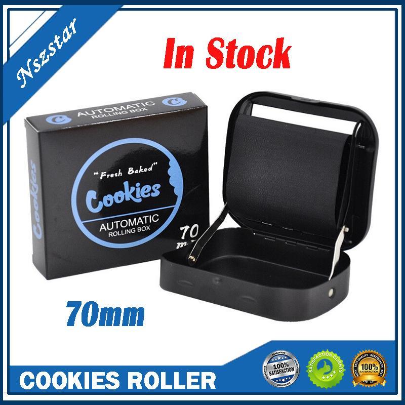 Cookies cigarros rolo 70mm padrão manual padrão handheld rolo automático rolling cor preto cigarro caixa de metal dhl