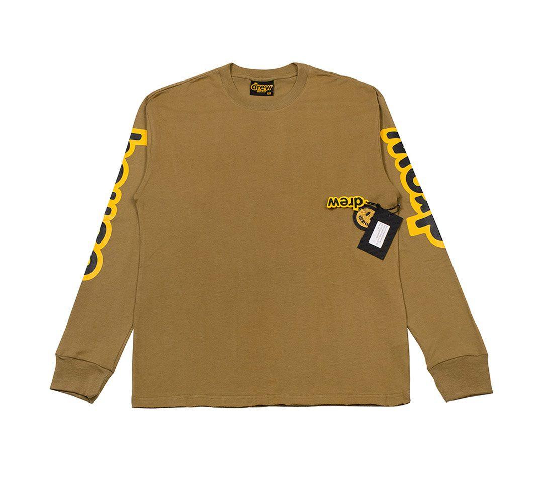 رجل desighner تي شيرت تيز درو هاوس القهوة براون إلكتروني طويل الأكمام تي شيرت الأعلى عارضة الأزياء الذكور الملابس