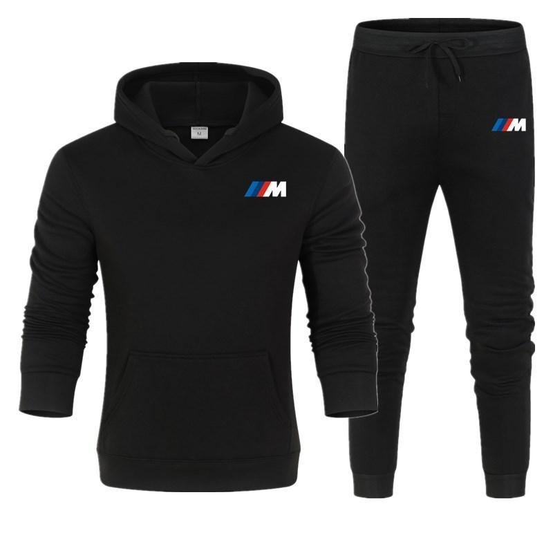 Deportes gruesa con capucha de ropa de marca Casual Traje de la pista Chaqueta de los hombres + pantalones Warm Fleece Winter Sudadera