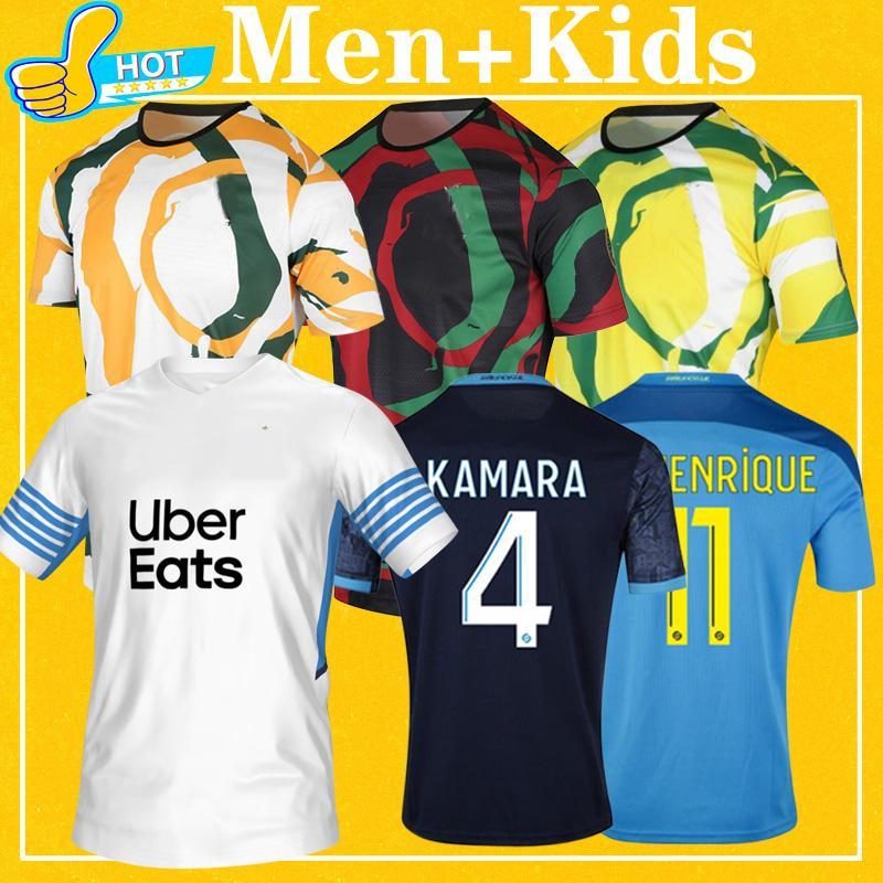 Mailleot Om Africa Soccer Jerseys 21 22 Payet Benedetto Thauvin قميص كرة القدم الرجال + Kids Kit