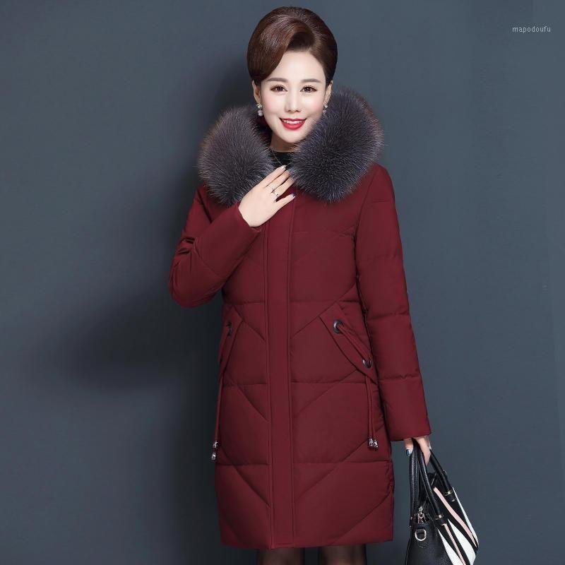 8XL Winterjacke frauen Parka mit Kapuze lose warm long down baumwolle mantel weibliche große größe gepolsterte taschen frauen winter mantel q19721