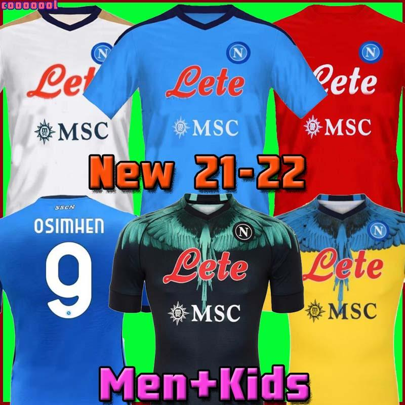 20 21 22 2 22 Napoli Marcelo x Burlon camisas de futebol quarto tributo a Diego Maradona Camiseta Insigne Mertens H.Lozano 2021 2022 Tailândia Nápoles Camisas de futebol Kits