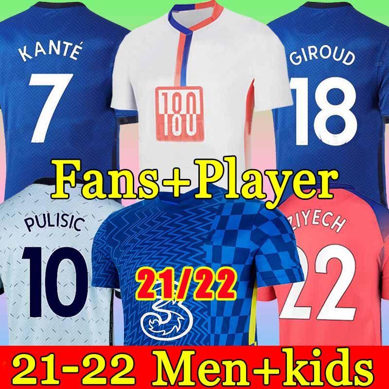 كرة القدم بالقميص تايلاند WERNER PULISIC كانتي ABRAHAM MOUNT ZIYECH 2019 2020 2021 Camiseta دي مجموعات كرة القدم قميص 19 20 21 SETS MEN KIDS