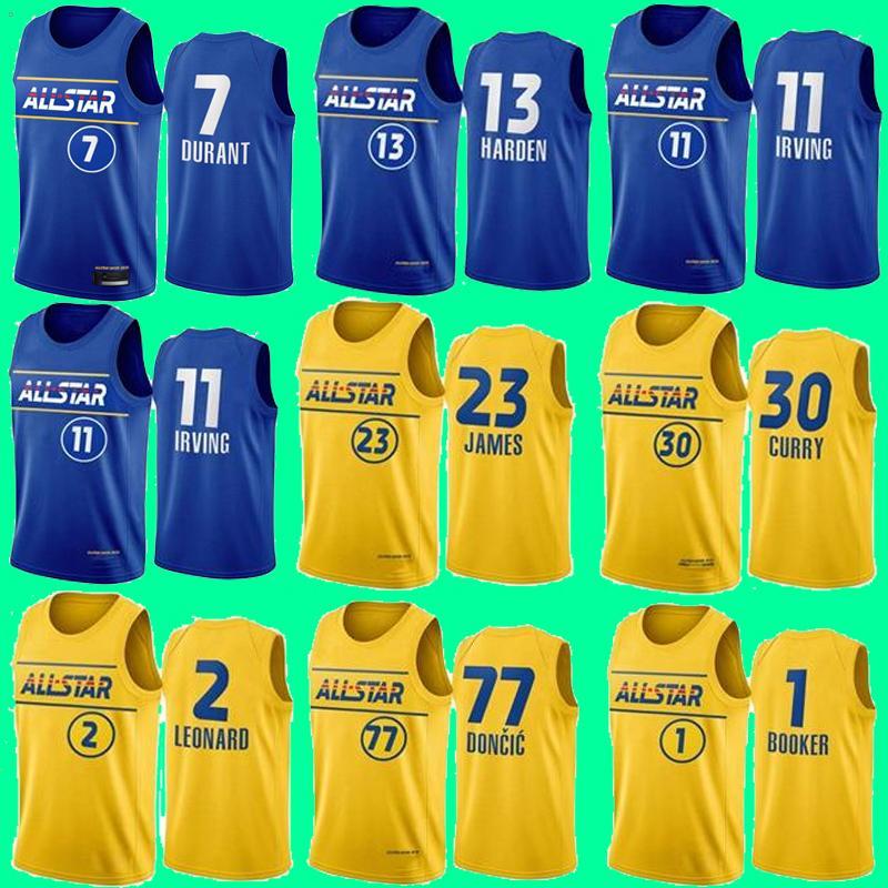 2021 All-Star Lebron 23 James Basketball-Trikots Giannis 34 AntetokounMPO 30 Curry Doncic 77 Luka Jokic Kevin 7 Durant Irving 11 Kyrie Leonard 2 Kawhi 13 Härten