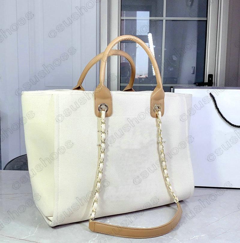 Classic Deauville Denim Borse Borse Catena Tote Lana Feltro Grande Designer Canvas Shopping Bag Chains Chains Handbag Marca Lussurys Womens Oversize Pacchetto perla