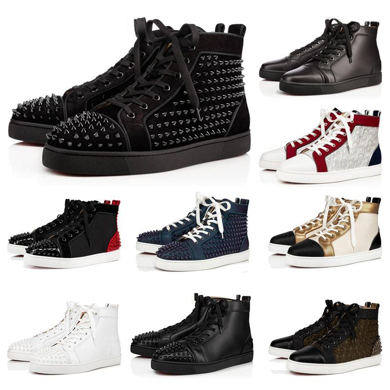 جودة عالية الأحمر أسفل عارضة أحذية الرجال النساء زوجين برشام ترصيع الأحذية المسطحة مصمم مصمم أحذية رياضية ماركة من جلد الغزال براءات الاختراع المدربين