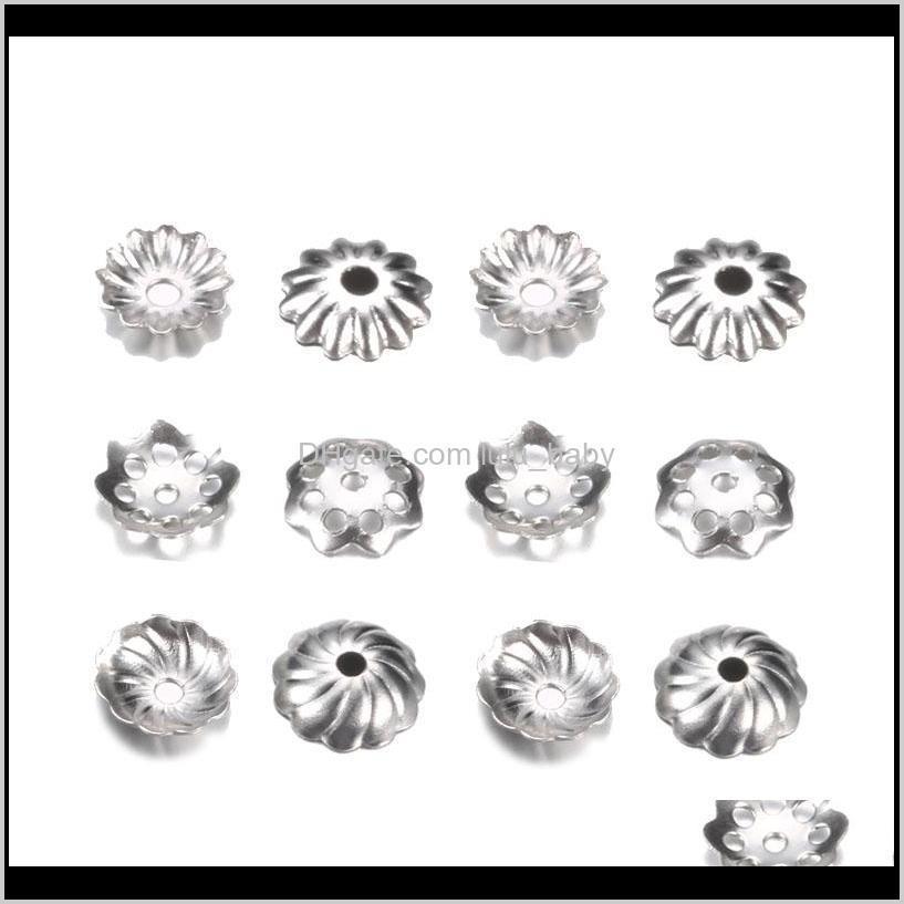 500 шт.лот из нержавеющей стали Torus Beat Caps Pearl Close Gente Flower DIY Spaced Apart Aparts Аксессуары для оптом 0oejm Omsa7