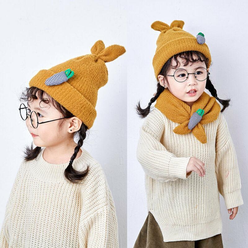 가을 겨울 따뜻한 모자 태어난 아기 소녀 따뜻한 스카프 공 니트 양모 모피 듀얼 사용 모자 모자 모자