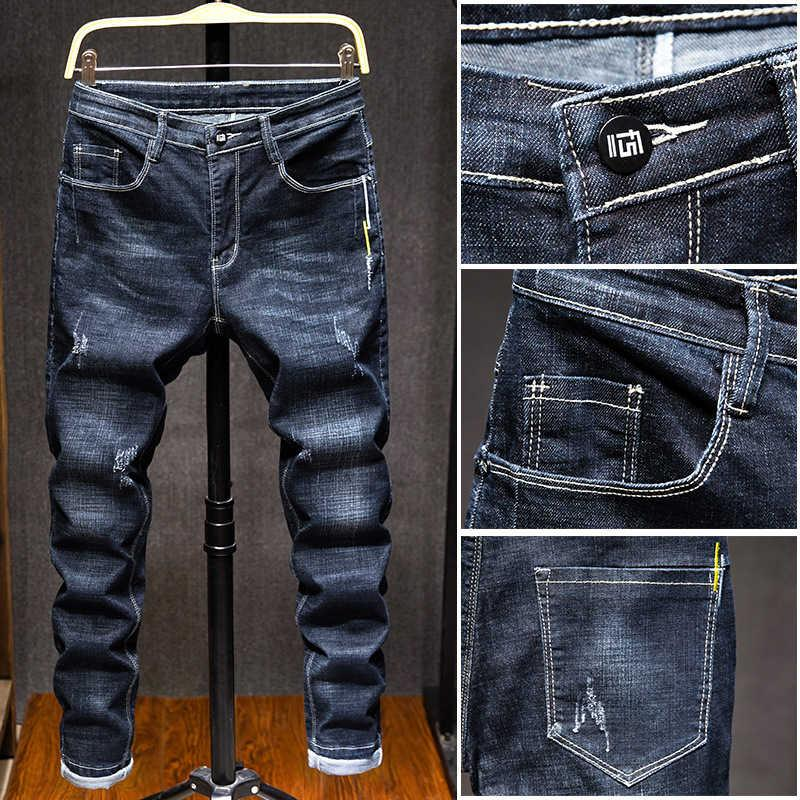 2021 Estate Jeans sottili da uomo Coreano Slim Elastic Leggings Gioventù Casual Pants