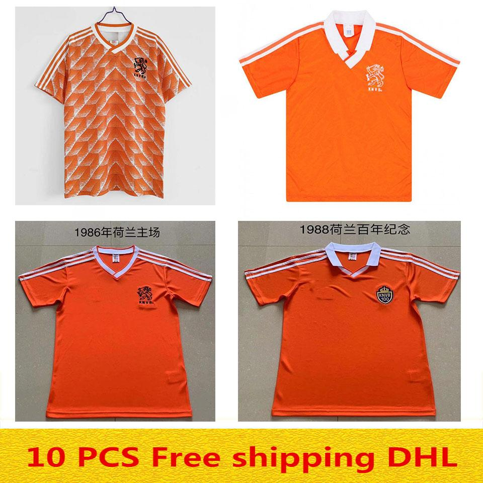 1988 1990 1992 1986 Jersey de football rétro Pays-Bas Marco Van Basten Gullit Shirt Voebal Seedorf Bergkamp Holland Kluivert Robben