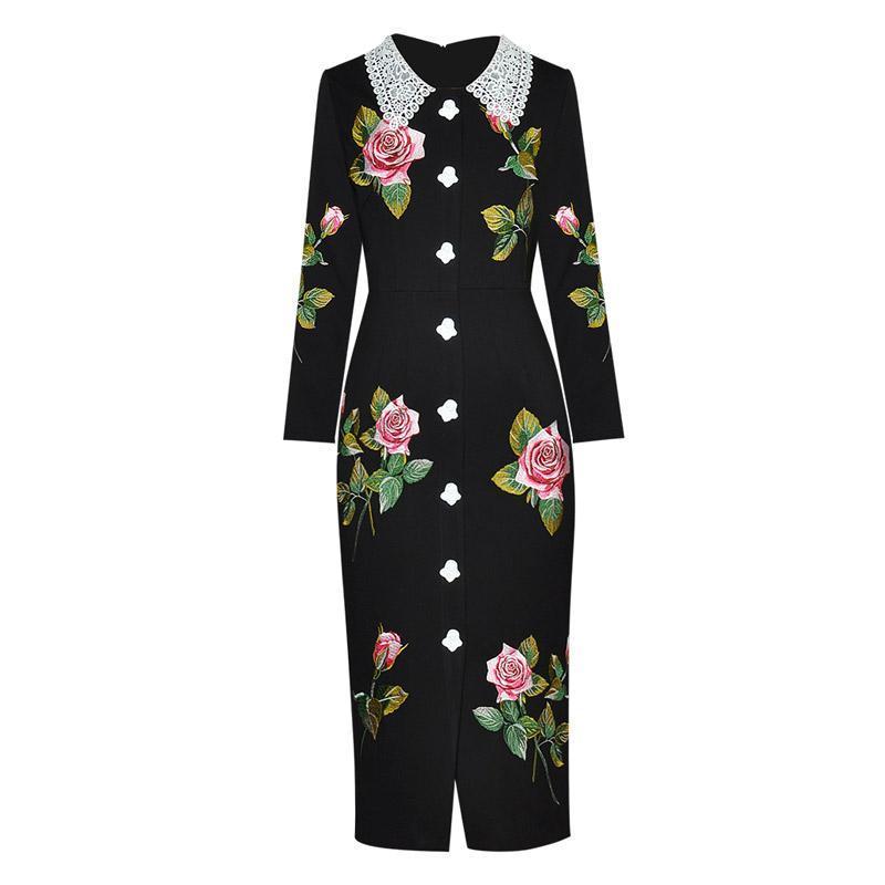 Abiti casual Brand Plus Size Dress Dress Rose Floral Ricamato Novità Pulsanti Crochet Collare a maniche lunghe Mid Calf Tight Bodycon Matita