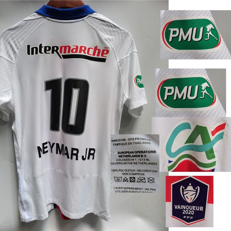 2021 Cupê de France Taça Francesa Final Jersey Jogador Desgastado Jogador Desgastado Todo Sponosr Maillot Shirt