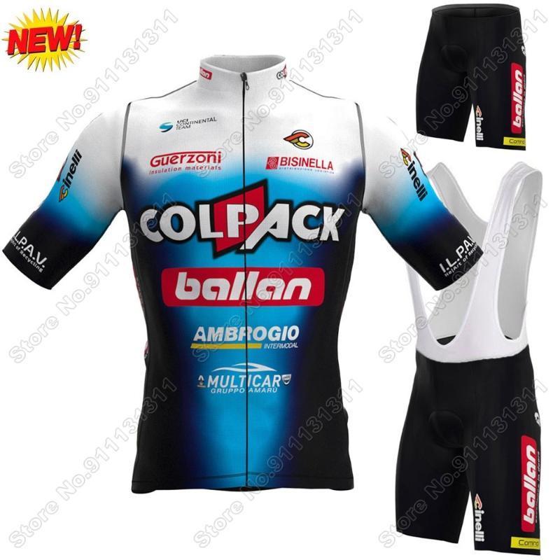 레이싱 세트 2021 팀 Colpack Ballan 사이클링 저지 세트 남성 의류 도로 자전거 셔츠 정장 자전거 턱받이 반바지 Ropa Ciclismo Maillot