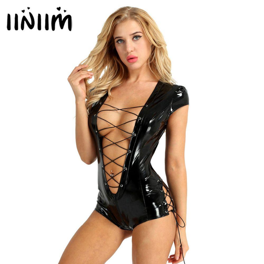 USA Stock Womens Watlook Bodysuit Patent Leder Sexy Clubbekleidung Damen Catsuit Kostüme Kappenhülse Reißverschluss Cunch Trotard Jumpsuit 210427