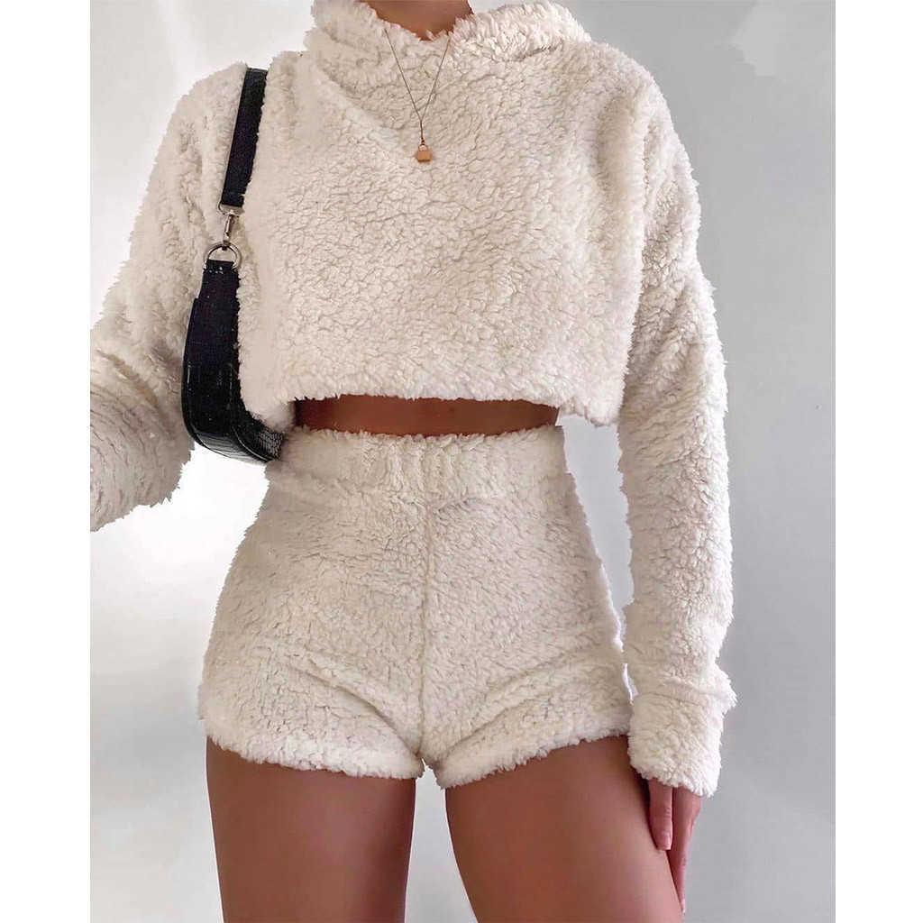 Sexy Fluffy Suits Women Velvet Plush Hooded Sports Sweatshirts and High Waist Shorts Casual Solid long sleeve two piece set B14 Y0625