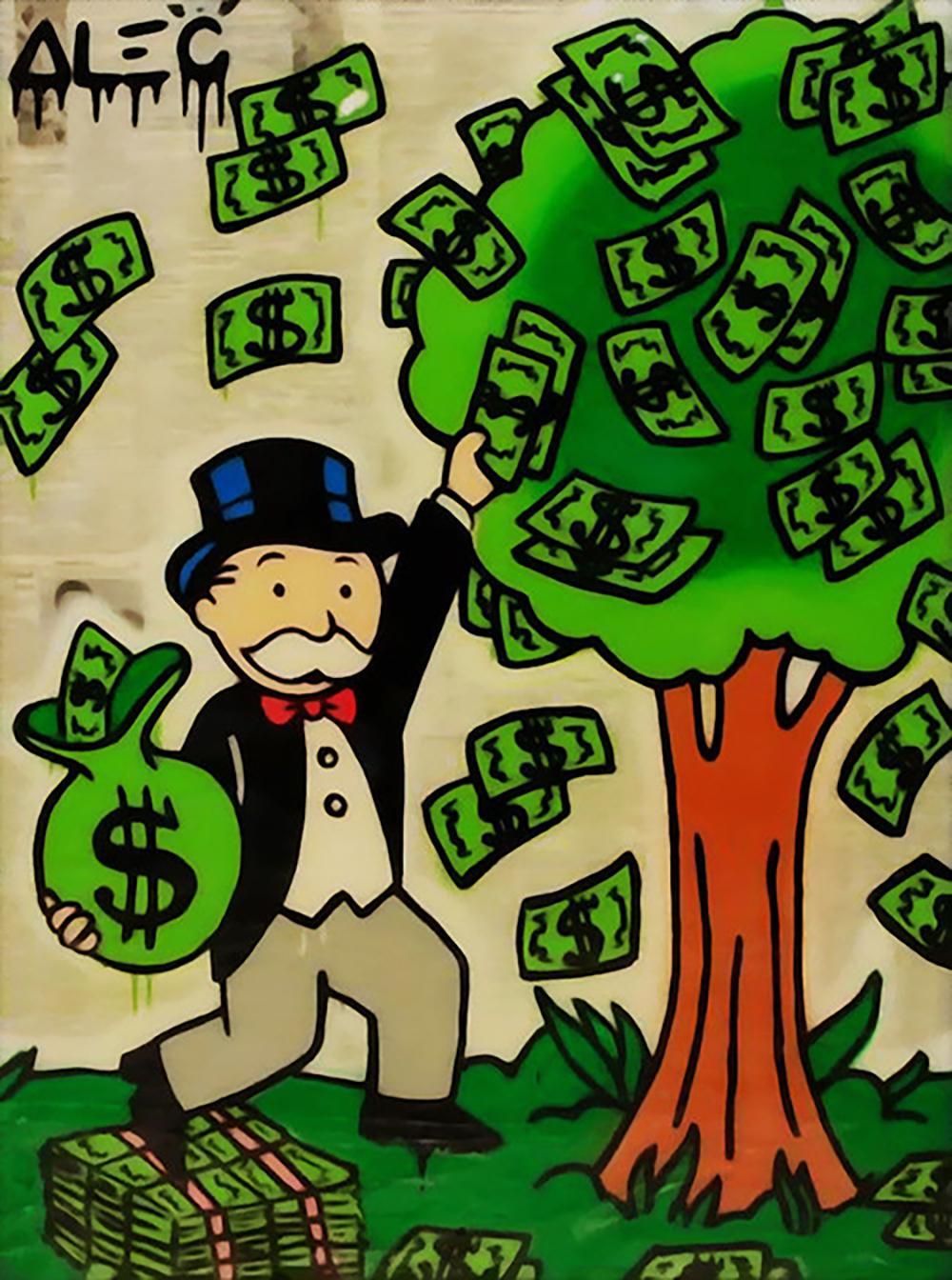 Geldbaum Ölgemälde auf Leinwand Home Decor Handkräfte / HD Print Wandkunst-Bildanpassung ist akzeptabel 21050803