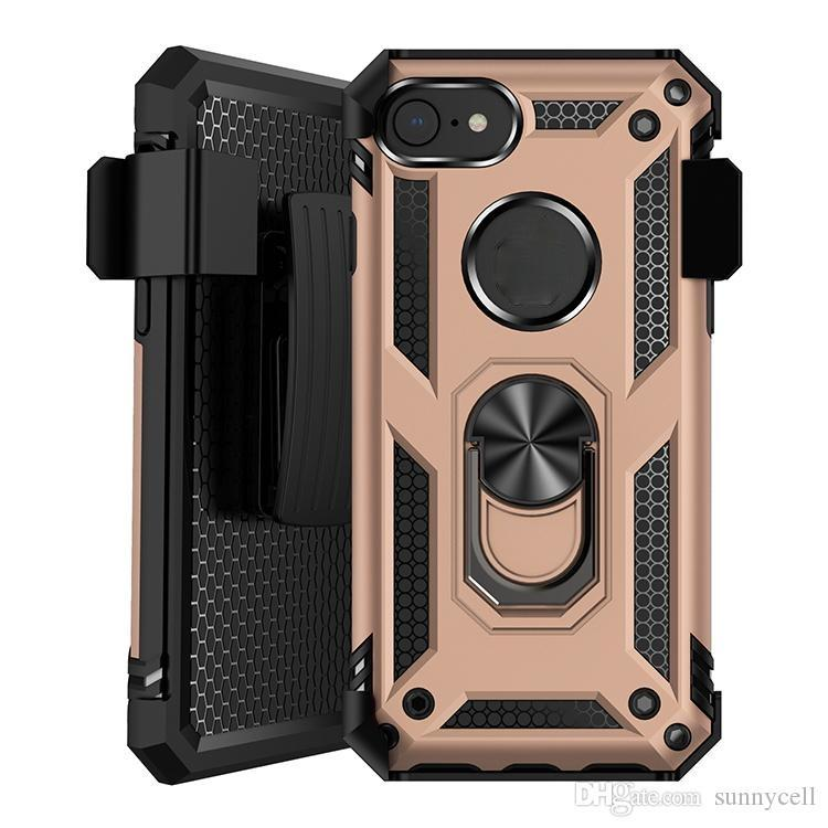 Phone Cases For iPhone 12 pro max 11 xs 6 7 8 Holster Belt Clip Built in Kickstand Ring Support Car Mount Shock Absorption Case Cover