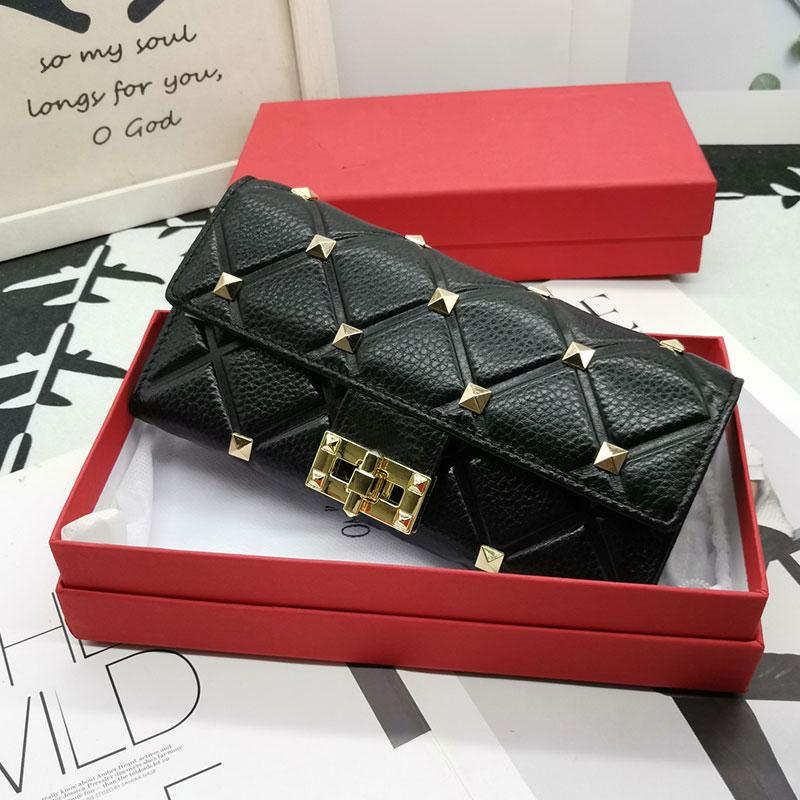 Spike Wallet Women Clutch Bag purse Rivet Long Wallets Fashion Letter Genuine Leather Hand Bags Interior Card Slot Holder Flap Purses With Gift Box