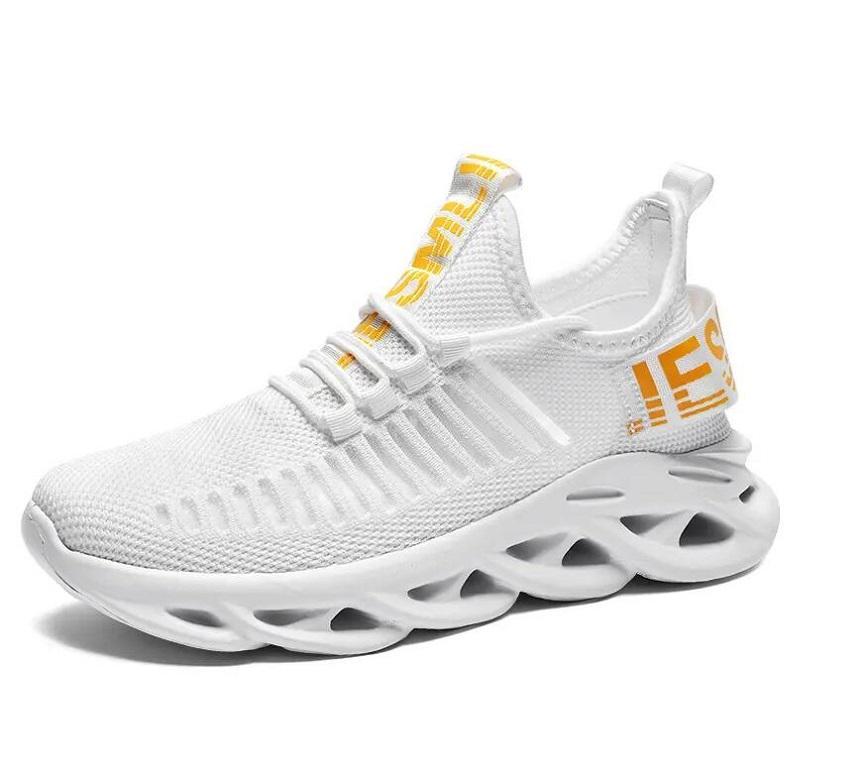 DE253 Açık Spor Ayakkabı Erkekler Hafif Koşucu Sneakers Alev Uçan Dokuma Örgü Lace Up Jogging Yürüyüş Mavi Siyah