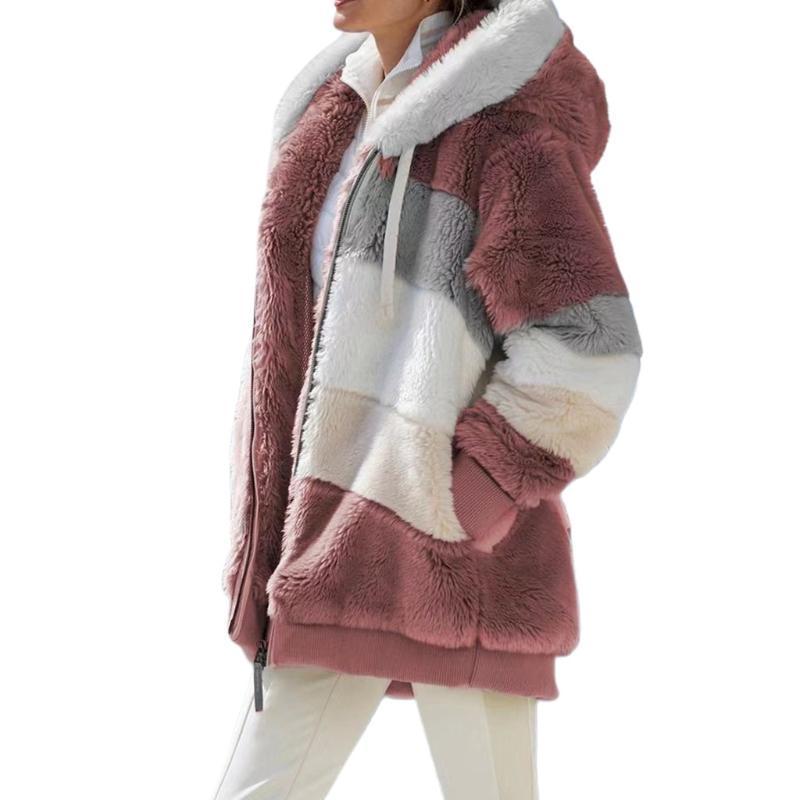 Women's Fur & Faux Women Winter Fuzzy Plush Warm Hoodie Jacket Long Sleeve Shaggy Oversized Coat Color Block Striped Zip Up Outerwear S-3XL