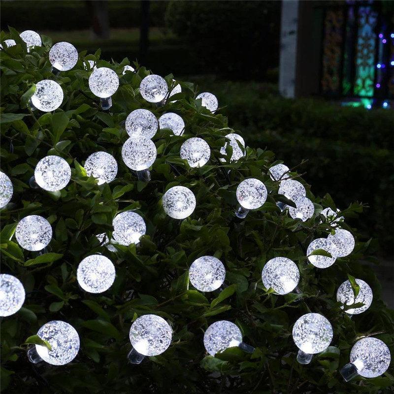 Lâmpada solar de Eclh 10m 50m 50ld bola de cristal globo Luz impermeável quente branca clara de fadas decoração de jardim ao ar livre solar string