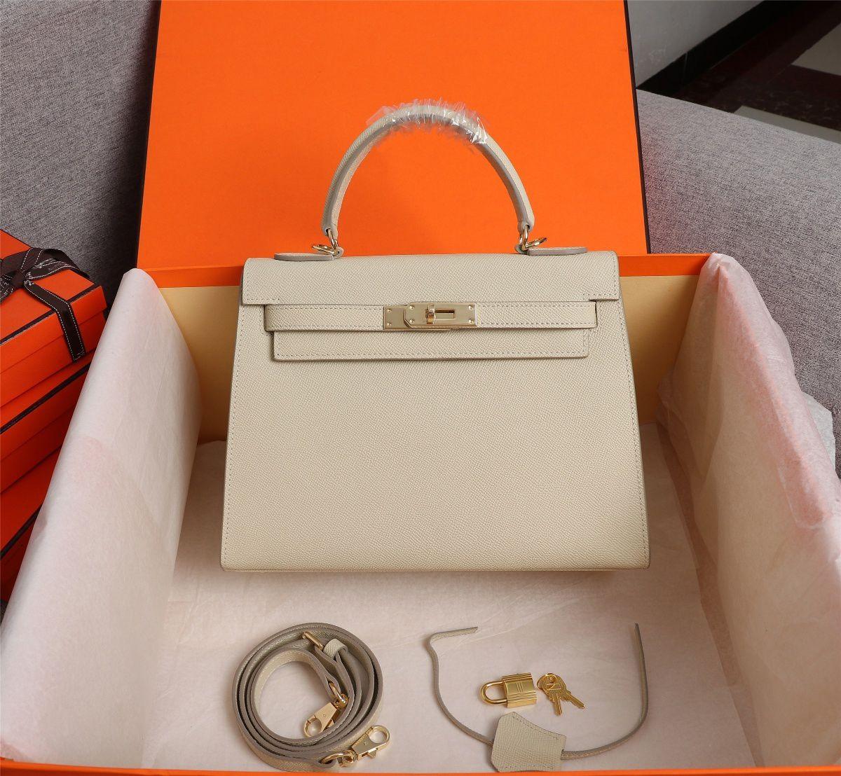 Feminino Clássico Mulheres Tote EspaM Fashion Bags 25cm 28 cm Genuíno couro bolsa de ombro senhora bolsa de alta qualidade fotos reais de alta qualidade