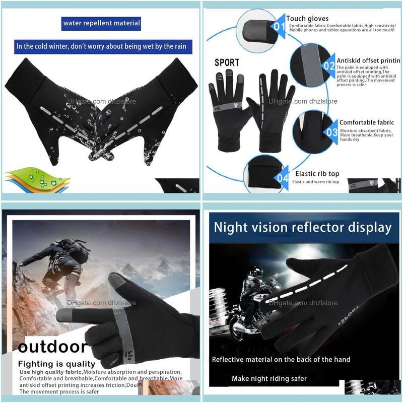 Protective Gear & Outdoorsunisex Oudoor Touch-Screen Full Finger Gloves Plush Reflective Non-Slip Mittens For Riding Sports Bike Skiing Cycl