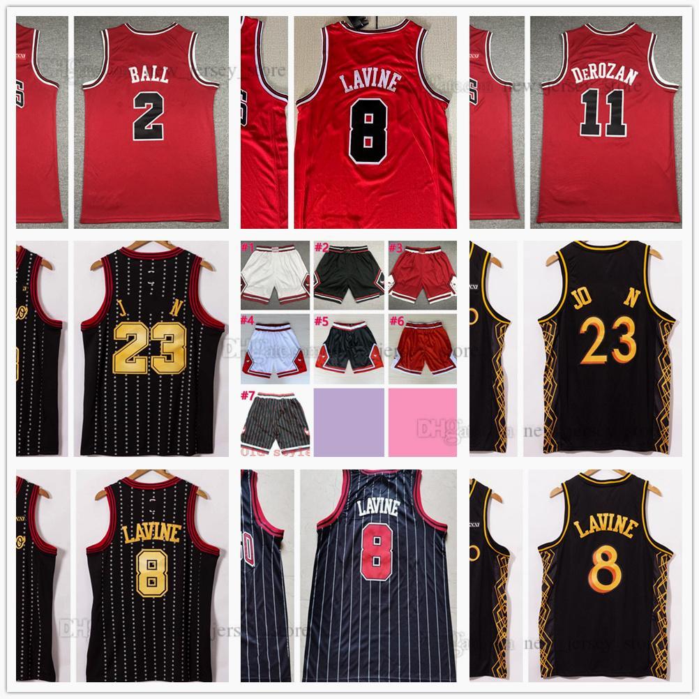 2021 2022 Rojo cosido Demar 11 Derozan Lonzo 2 Ball Basketball Jerseys Zach 8 Lavine Jersey Black Stripe City Hombre blanco Tamaño S-XXL