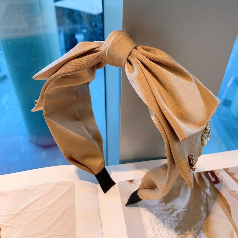 Mode Charm Frauen Vintage Doppelschicht Bowknot Stirnbänder Koreanische Einfache Stile Marke Designer Buchstaben Drucken Weitiger Rand Haarberuf Kristall Perlen Haarbänder Headwrapps