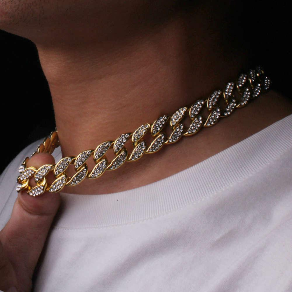 Hip Hop Bling Fashion Chains Jewelry Mens Gold Silver Miami Cuban Link Chain Necklaces Diamond Iced Out Chian